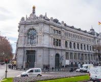 Банк здания Испании в городе Мадрида стоковое изображение rf