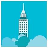 Банк здания вектора дела на голубой предпосылке Стоковая Фотография
