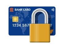 Банк или кредитная карточка с замком пусковой площадки иллюстрация штока