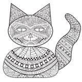 Банк кота Zentangle, кот украшения, взрослая книжка-раскраска, крася иллюстрация штока