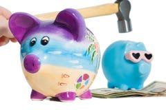 Банк молотка Piggy стоковое изображение rf