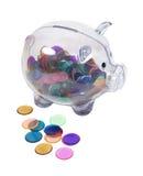 банк откалывает цветастое полное piggy Стоковое Изображение RF