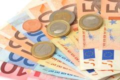 банк чеканит примечания евро Стоковые Фотографии RF