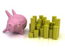 банк 3d piggy Стоковые Фото