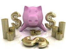банк 3d piggy Стоковые Изображения