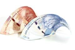 Банк Botes южно-африканского ранда на белизне Стоковое фото RF
