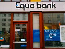 Банк Equa логотипа в Праге стоковые фотографии rf