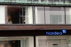 БАНК NORDEA Ветвь Vesterbro расположенная в Копенгаген стоковая фотография rf