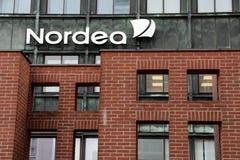 БАНК NORDEA Ветвь Vesterbro расположенная в Копенгаген стоковые изображения
