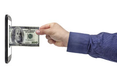 Банк Smartphone руки банкноты доллара Стоковые Фото