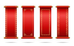 Chinese red scrolls festive.  Set of different scrolls with space for text. stock images