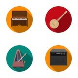 Банджо, рояль, громкоговоритель, метроном Музыкальные инструменты установили значки собрания в плоском запасе символа вектора сти бесплатная иллюстрация