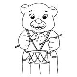 барабанчик мальчика медведя немногая играя Стоковое Фото
