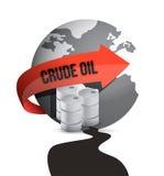 Барабанчик масла, бочонок и глобус земли в нефтяном пятне Стоковые Фото