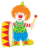 барабанщик клоуна цирка Стоковая Фотография
