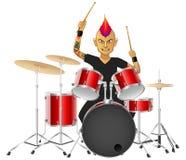 Барабанщик музыканта утеса известно играет барабанчики бесплатная иллюстрация
