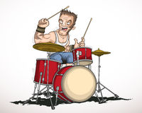 Барабанщик музыканта утеса Стоковое фото RF