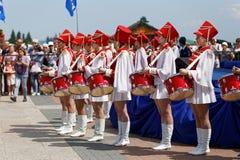 Барабанщик на торжестве дня России стоковое фото rf