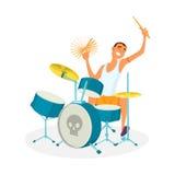 барабанщик принципиальной схемы барабанит нот играя утес иллюстрация вектора
