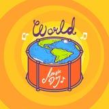 Барабаньте предпосылкой концепции дня музыки, рукой нарисованный стиль бесплатная иллюстрация