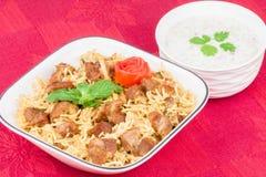 Баранина Biryani с салатом Стоковое Фото