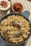 Баранина Gosht Biryani - подготовка риса с бараниной и специями Стоковые Фотографии RF