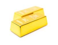 2 бара золотой монеты предпосылки onwhite Стоковое Изображение RF