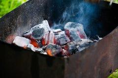 Барбекю для shish kebabs, углей барбекю, углей березы горит, уголь в гриле Стоковое фото RF
