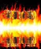 Барбекю и пожар Стоковое Изображение RF
