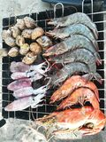 Барбекю морепродуктов на пляже Стоковая Фотография RF