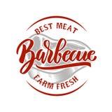Барбекю Мясо фермы свежее самое лучшее зажженное мясо Конструируйте элемент для логотипа, ярлыка, эмблемы, знака, значка также ве Стоковые Фото