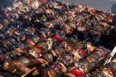 барбекю очернило skewered shish kebabs цыпленка Стоковое Изображение RF