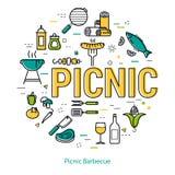 Барбекю пикника - круглая линейная концепция иллюстрация штока