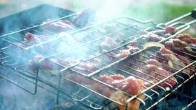 Барбекю с очень вкусным зажаренным мясом на гриле Мясо барбекю зажаренная решетка гриля Зажаренные мяс outdoors видеоматериал