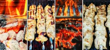 Барбекю Kebabs на горячем конце-вверх гриля Пламена огня в коллаже фото Стоковые Изображения