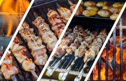 Барбекю Kebabs на горячем конце-вверх гриля Пламена огня в коллаже фото Стоковые Фотографии RF