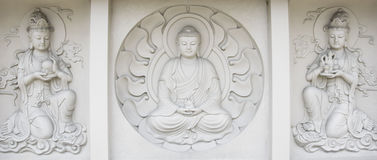 Барельеф Будды, в монастыре mendut буддийском Стоковая Фотография RF