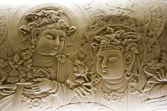 Барельеф Будды, в монастыре mendut буддийском Стоковая Фотография