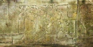 Барельеф высекая с майяские королей в древнем городе, Palenq стоковые изображения rf