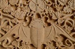 Барельеф деревянной летучей мыши Стоковое Фото