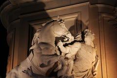 Барельеф на статуе короля José Я, квадрата коммерции, Лиссабона, Португалии Стоковые Фотографии RF