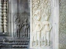 Барельеф на стене Angkor Wat, Камбоджи Стоковое фото RF