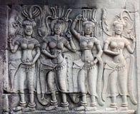 Барельеф на Angkor Wat, Камбодже Стоковые Изображения