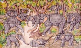 Барельеф слона 9 Стоковое Изображение RF