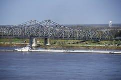 Баржа внутри река Миссисипи в Vicksburg, Миссиссипи стоковая фотография