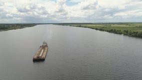 Баржа на реке Волге Стоковое Изображение