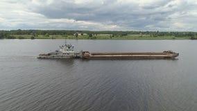 Баржа на реке Волге Стоковые Фото