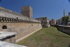 Бари, Apulia, Италия Взгляд средневекового замка города Стоковое Изображение