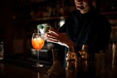 Бармен брюнет добавляя алкогольный напиток в стекло с коктеилем Стоковые Фото