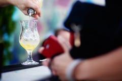 Бармен подготавливая коктеиль для гостей Стоковые Изображения